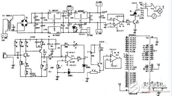 单片机控制电路(由延时电路和逻辑与电路构成),继电器驱动电路及电源