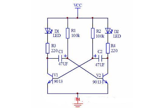 多谐振荡器双闪灯电路设计与制作 - 闪光灯电路
