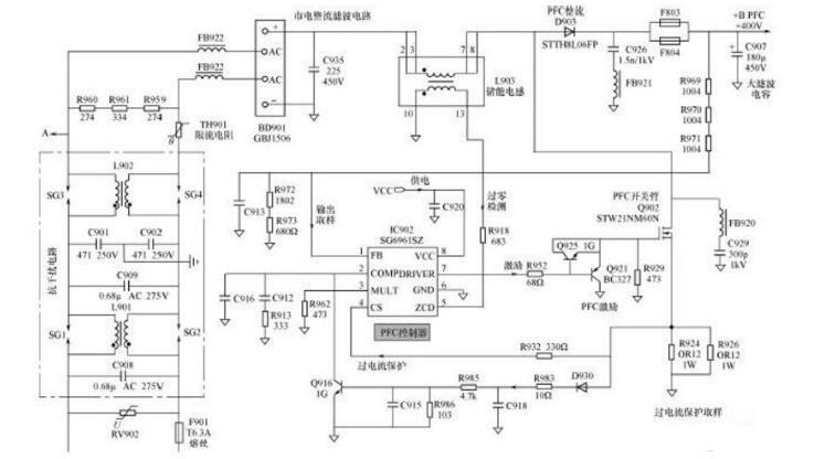 液晶电视电源pfc电路_液晶pfc电路维修技巧 - 电视机电路图