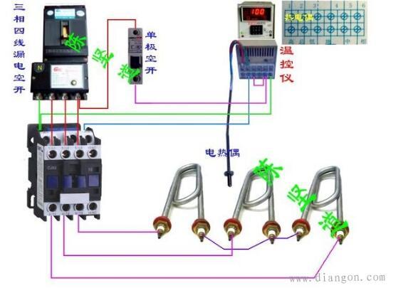 温控开关温度开关_温度控制器接线方法_温度控制器接线图参考 - 电工仪表电路图 ...