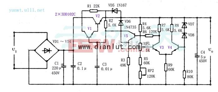 实用高压直流稳压电源电路图