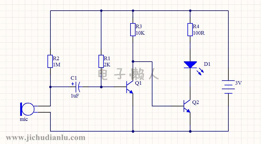 由mic和上拉电阻r2组成; 二是音频信号放大电路(共发射极放大电路),由