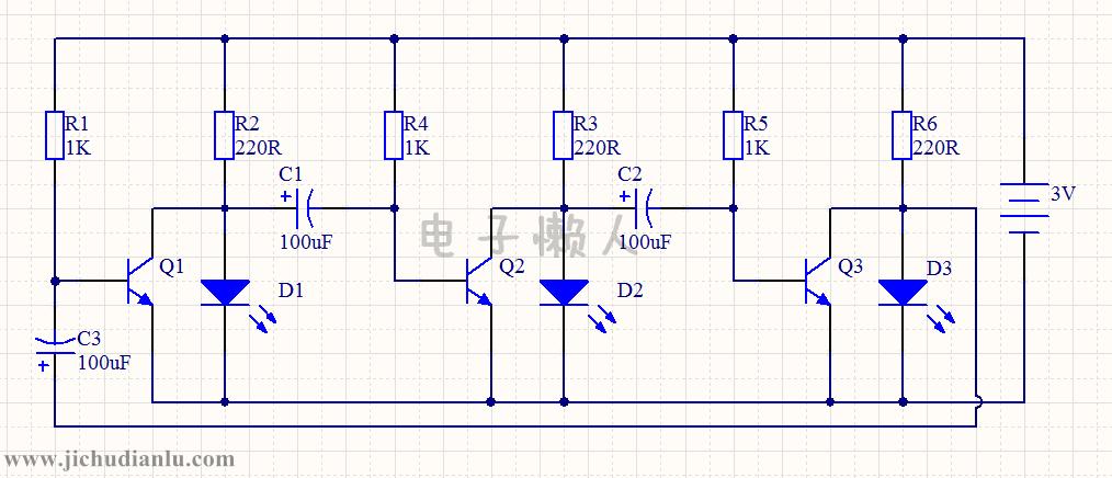 循环led彩灯电路的效果图演示_基础硬件电路图讲解