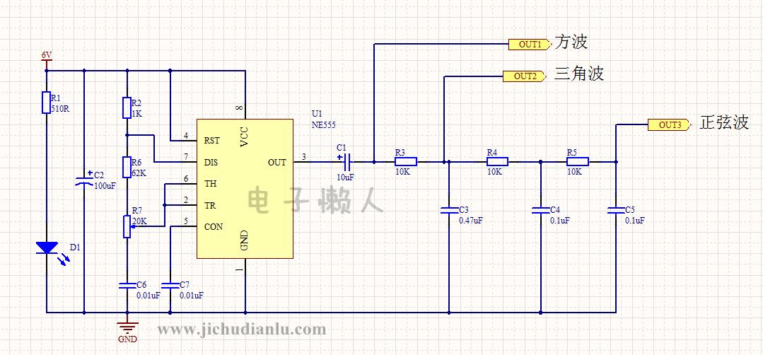 电路图功能: 利用555的核心电路产生 方波,三角波,正弦波。 整个电路的工作过程: 首先,555芯片通过外围电阻电容组成一个多谐振荡器,输出一个方波。那么555多谐振荡器输出方波的原理应该是很简单了,不清楚的可查找本论坛(电子初学者家园)中关于555的讲解来理解。 555多谐振荡器输出方波后,经电容C1耦合到由R3,C3组成的积分网络。输出三角波。这也是一个电容充放电的过程,过程如下: 当555多谐振荡器输出高电平时,C3通过R3开始充电,C3的充电电压增加。当555多谐振荡器输出变成低电平时,C3通