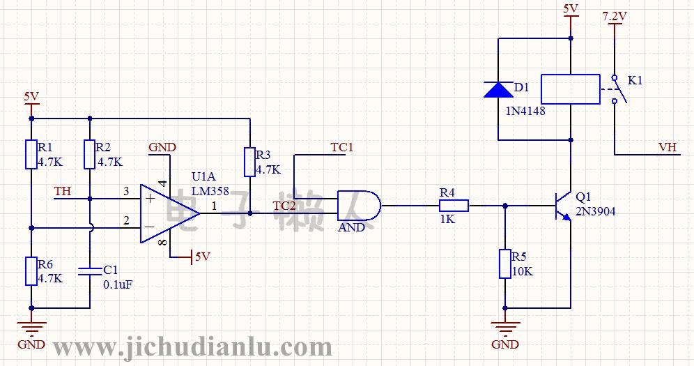 电路简单,模块划分却很明显,主要由三个部分组成: 一是由lm358b比较器