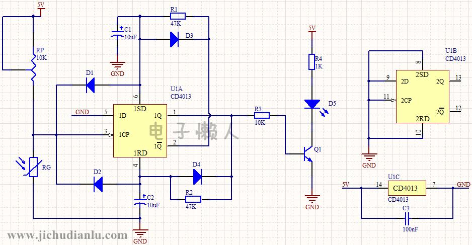 电路工作过程: 在分析电路前,我们先了解一下cd4013的引脚功能
