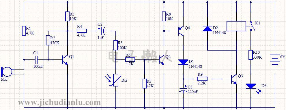电路图: 本电路模拟的是一款声光双控的走廊灯,当白天的时候,光照较